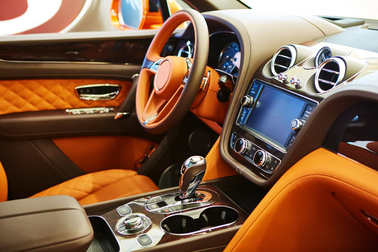 Brown leather interior of a luxury car