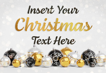 Web Christmas Card Mockup with Yellow Ornaments
