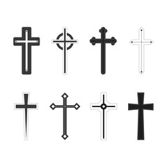 Christian cross church icon set logos. Christianity symbol of Jesus Christ.Vector
