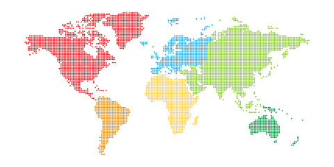 Wall Mural - World map mosaic of small dots in defferent color for each continent. Dotted design. Simple flat vector illustration