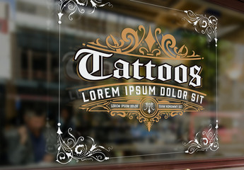 Vintage Tattoo Logo Layout with Gold Elements