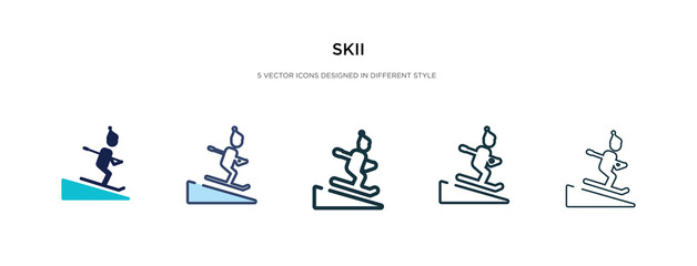 skii icon in different style vector illustration. two colored and black skii vector icons designed in filled, outline, line and stroke style can be used for web, mobile, ui