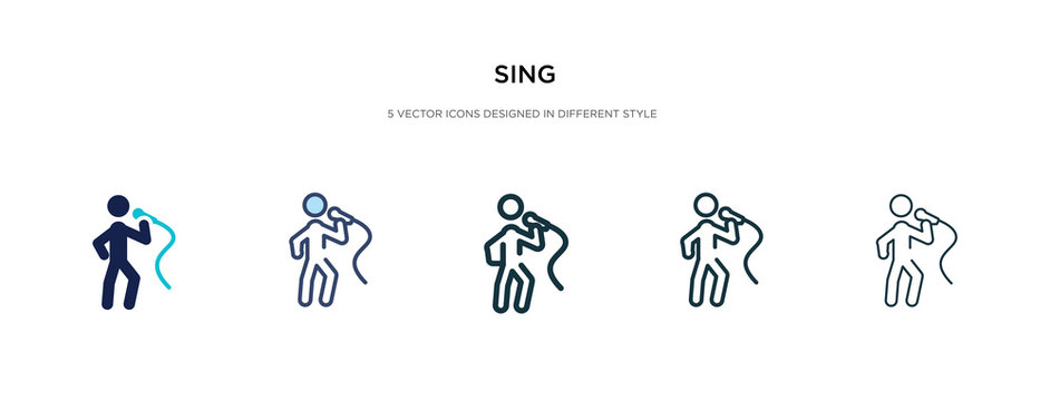 sing icon in different style vector illustration. two colored and black sing vector icons designed in filled, outline, line and stroke style can be used for web, mobile, ui