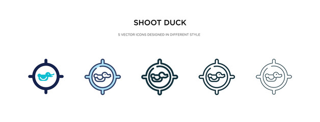 shoot duck icon in different style vector illustration. two colored and black shoot duck vector icons designed in filled, outline, line and stroke style can be used for web, mobile, ui