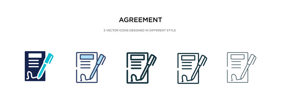 agreement icon in different style vector illustration. two colored and black agreement vector icons designed in filled, outline, line and stroke style can be used for web, mobile, ui