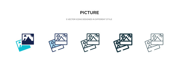 picture icon in different style vector illustration. two colored and black picture vector icons designed in filled, outline, line and stroke style can be used for web, mobile, ui