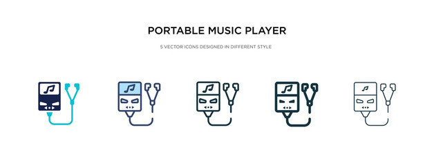 portable music player icon in different style vector illustration. two colored and black portable music player vector icons designed in filled, outline, line and stroke style can be used for web,