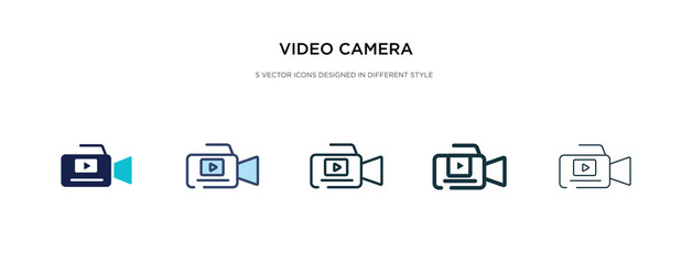 video camera icon in different style vector illustration. two colored and black video camera vector icons designed in filled, outline, line and stroke style can be used for web, mobile, ui