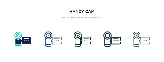 handy cam icon in different style vector illustration. two colored and black handy cam vector icons designed in filled, outline, line and stroke style can be used for web, mobile, ui