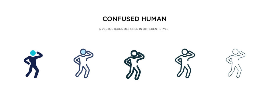 confused human icon in different style vector illustration. two colored and black confused human vector icons designed in filled, outline, line and stroke style can be used for web, mobile, ui