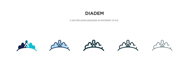 diadem icon in different style vector illustration. two colored and black diadem vector icons designed in filled, outline, line and stroke style can be used for web, mobile, ui