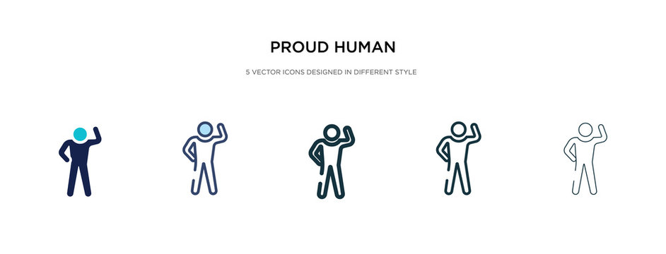 proud human icon in different style vector illustration. two colored and black proud human vector icons designed in filled, outline, line and stroke style can be used for web, mobile, ui