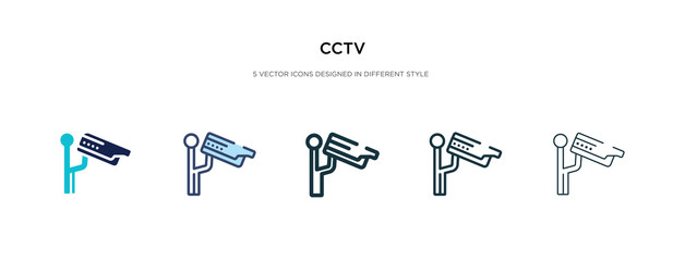 cctv icon in different style vector illustration. two colored and black cctv vector icons designed in filled, outline, line and stroke style can be used for web, mobile, ui