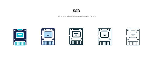 ssd icon in different style vector illustration. two colored and black ssd vector icons designed in filled, outline, line and stroke style can be used for web, mobile, ui Wall mural