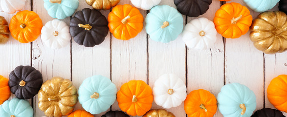 Fall double border banner of colorful pumpkins. Above view over a white wood background with copy...