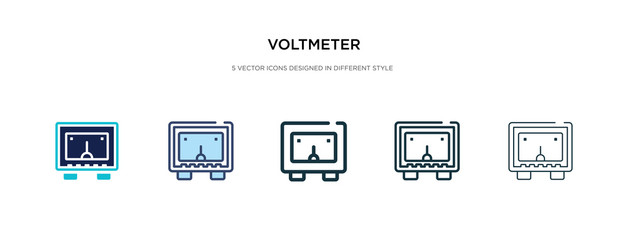 voltmeter icon in different style vector illustration. two colored and black voltmeter vector icons designed in filled, outline, line and stroke style can be used for web, mobile, ui