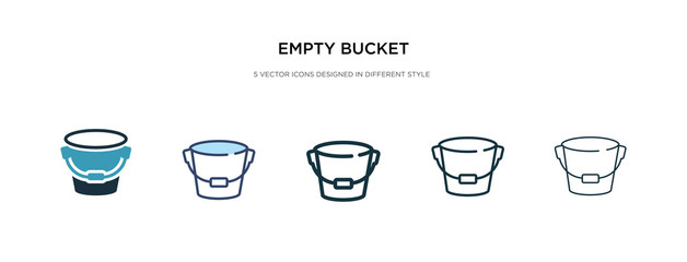 empty bucket icon in different style vector illustration. two colored and black empty bucket vector icons designed in filled, outline, line and stroke style can be used for web, mobile, ui