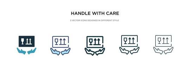 handle with care icon in different style vector illustration. two colored and black handle with care vector icons designed in filled, outline, line and stroke style can be used for web, mobile, ui