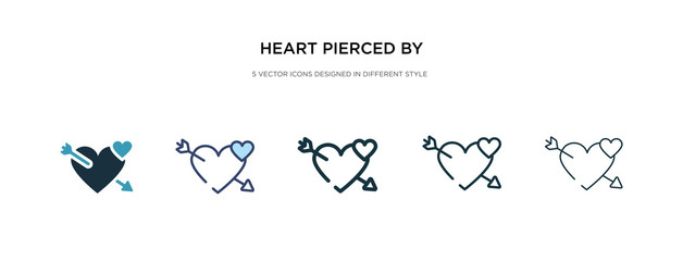 heart pierced by an arrow icon in different style vector illustration. two colored and black heart pierced by an arrow vector icons designed in filled, outline, line and stroke style can be used for