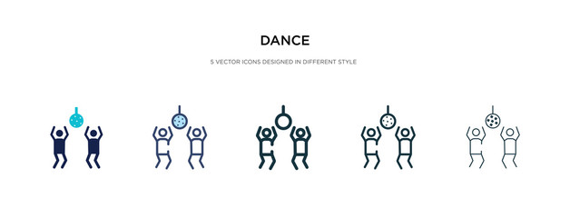 dance icon in different style vector illustration. two colored and black dance vector icons designed in filled, outline, line and stroke style can be used for web, mobile, ui