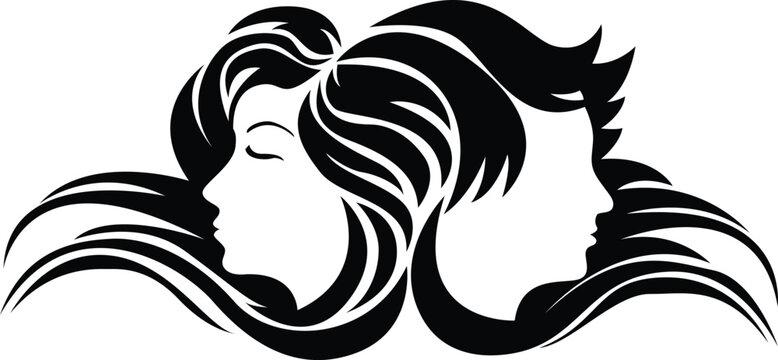 Hair Salon Logo Vector Silhouette