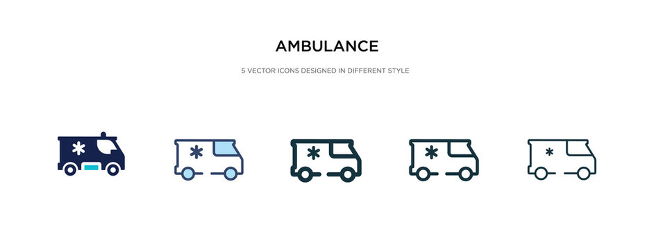 ambulance icon in different style vector illustration. two colored and black ambulance vector icons designed in filled, outline, line and stroke style can be used for web, mobile, ui