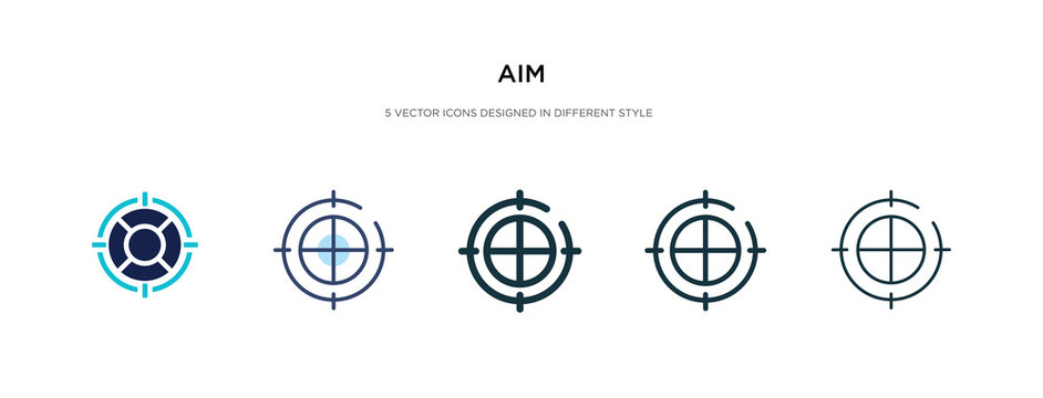 aim icon in different style vector illustration. two colored and black aim vector icons designed in filled, outline, line and stroke style can be used for web, mobile, ui