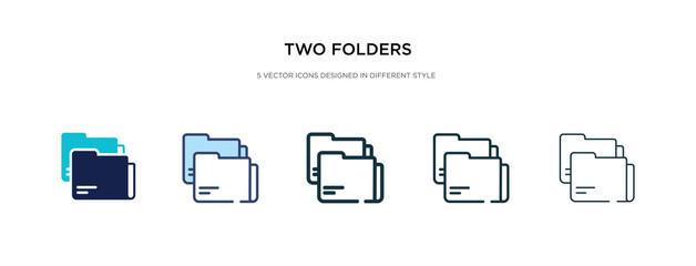 two folders icon in different style vector illustration. two colored and black two folders vector icons designed in filled, outline, line and stroke style can be used for web, mobile, ui