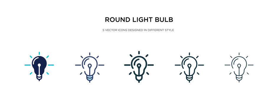 round light bulb icon in different style vector illustration. two colored and black round light bulb vector icons designed in filled, outline, line and stroke style can be used for web, mobile, ui