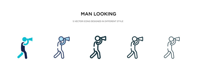man looking icon in different style vector illustration. two colored and black man looking vector icons designed in filled, outline, line and stroke style can be used for web, mobile, ui Fotomurales