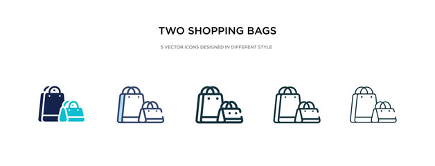 two shopping bags icon in different style vector illustration. two colored and black two shopping bags vector icons designed in filled, outline, line and stroke style can be used for web, mobile, ui