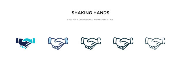 shaking hands icon in different style vector illustration. two colored and black shaking hands vector icons designed in filled, outline, line and stroke style can be used for web, mobile, ui
