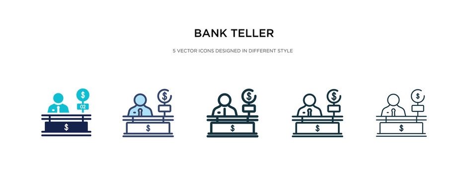 bank teller icon in different style vector illustration. two colored and black bank teller vector icons designed in filled, outline, line and stroke style can be used for web, mobile, ui