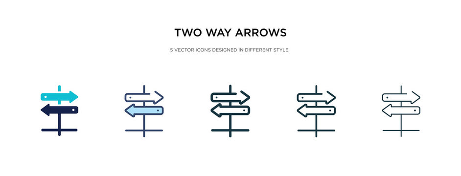 two way arrows icon in different style vector illustration. two colored and black two way arrows vector icons designed in filled, outline, line and stroke style can be used for web, mobile, ui