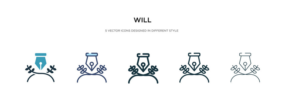 will icon in different style vector illustration. two colored and black will vector icons designed in filled, outline, line and stroke style can be used for web, mobile, ui