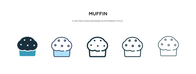 muffin icon in different style vector illustration. two colored and black muffin vector icons designed in filled, outline, line and stroke style can be used for web, mobile, ui