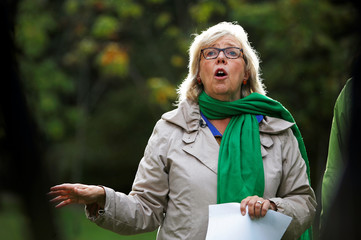 Green Party leader Elizabeth May makes an announcement regarding the role of tree planting in the Green Party's climate plan mission at Gorge Park in Victoria