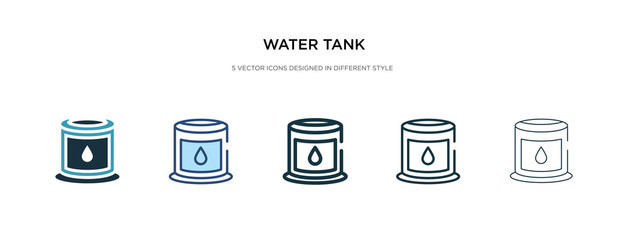 water tank icon in different style vector illustration. two colored and black water tank vector icons designed in filled, outline, line and stroke style can be used for web, mobile, ui