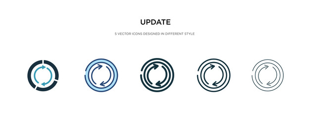 update icon in different style vector illustration. two colored and black update vector icons designed in filled, outline, line and stroke style can be used for web, mobile, ui