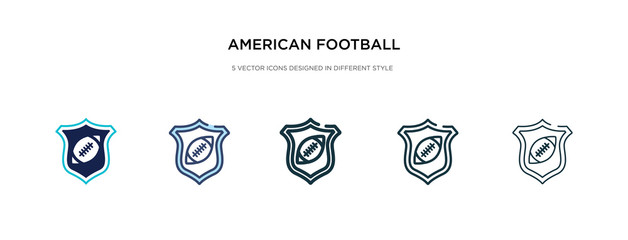 american football team emblem icon in different style vector illustration. two colored and black american football team emblem vector icons designed in filled, outline, line and stroke style can be