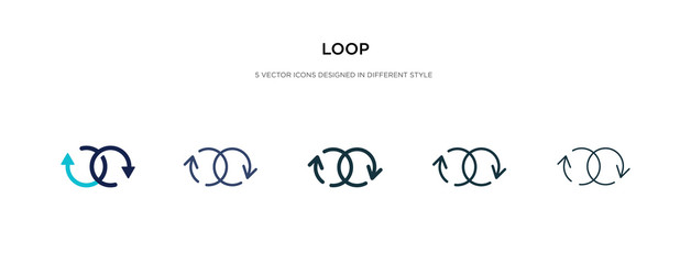 loop icon in different style vector illustration. two colored and black loop vector icons designed in filled, outline, line and stroke style can be used for web, mobile, ui Fototapete