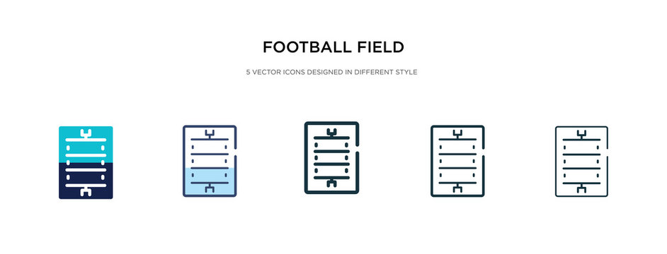 football field icon in different style vector illustration. two colored and black football field vector icons designed in filled, outline, line and stroke style can be used for web, mobile, ui