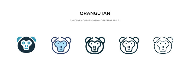 orangutan icon in different style vector illustration. two colored and black orangutan vector icons designed in filled, outline, line and stroke style can be used for web, mobile, ui