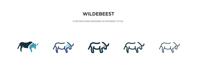 wildebeest icon in different style vector illustration. two colored and black wildebeest vector icons designed in filled, outline, line and stroke style can be used for web, mobile, ui