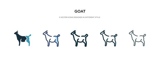 goat icon in different style vector illustration. two colored and black goat vector icons designed in filled, outline, line and stroke style can be used for web, mobile, ui