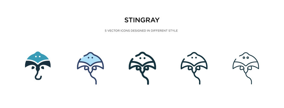 stingray icon in different style vector illustration. two colored and black stingray vector icons designed in filled, outline, line and stroke style can be used for web, mobile, ui