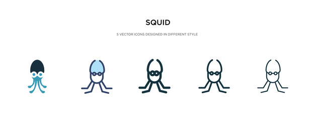 squid icon in different style vector illustration. two colored and black squid vector icons designed in filled, outline, line and stroke style can be used for web, mobile, ui Wall mural
