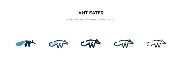 ant eater icon in different style vector illustration. two colored and black ant eater vector icons designed in filled, outline, line and stroke style can be used for web, mobile, ui