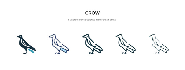 crow icon in different style vector illustration. two colored and black crow vector icons designed in filled, outline, line and stroke style can be used for web, mobile, ui