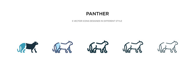 panther icon in different style vector illustration. two colored and black panther vector icons designed in filled, outline, line and stroke style can be used for web, mobile, ui